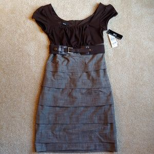NWT BCX brown and light brown formal/casual dress